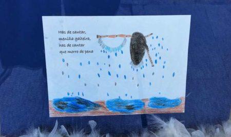 Os traballos dos escolares no marco da «Semana por Rosalía» expóñense xa por toda a vila