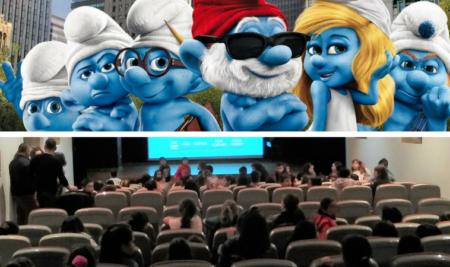 Preto de 300 cativos gozan de «Los Pitufos» nas sesións de cinema escolar