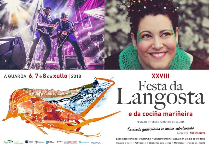 A XXVIII Festa da Langosta e da Cociña Mariñeira que se celebra na Guarda do 6 ao 8 de xullo contará cunha intensa programación.