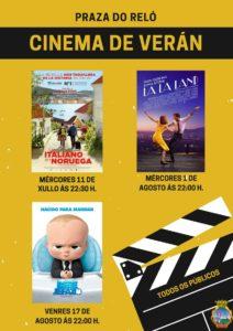 A Concellería de Cultura do Concello da Guarda oferta un ano máis o Cinema de Verán que nesta edición 2018 celebraráse na Praza do Reló do municipio con 3 sesións de cinema para todos os públicos.