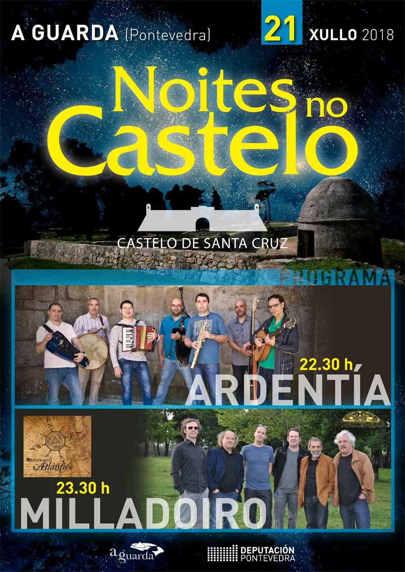 O vindeiro sábado día 21 de xullo a partires das 22:30h celébrase unha nova edición de Noites no Castelo, un festival organizado dende a Concellería de Cultura do Concello da Guarda e que está subvencionado pola Deputación de Pontevedra.