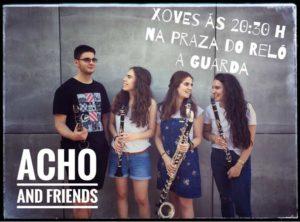 O cuarteto musical Acho and Friends actúan este xoves día 12 de xullo a partires das 20:30h na Praza do Reló da Guarda