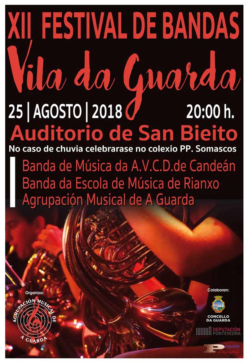 A Praza de San Bieito da Guarda acolle este sábado día 25 de agosto o XII Festival de Bandas «Vila da Guarda», unha cita musical que contará coa participación da Banda de Música da A.V.C.D de Candeán, a Banda da Escola de Música de Rianxo e coma anfitrións a Agrupación Musical da Guarda.