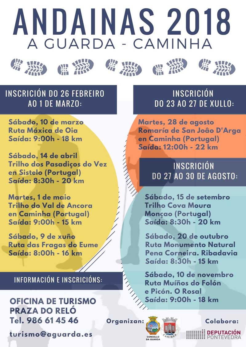 Continúan as andainas organizadas pola Cámara Municipal de Caminha e o Concello da Guarda e que terán lugar entre os meses de setembro e novembro co obxectivo de coñecer a paisaxe e o patrimonio da comunidade galega e o país veciño.