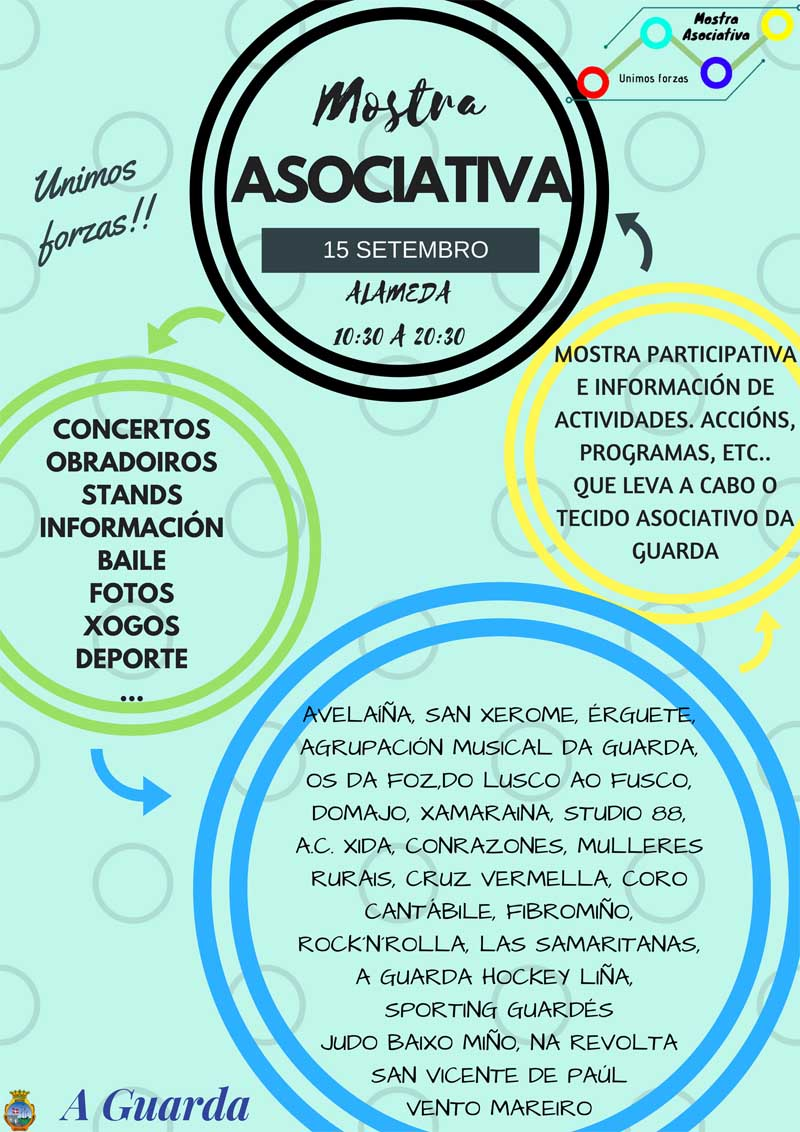 Este sábado día 15 de setembro, a Alameda da Guarda acolle a segunda edición da Mostra Asociativa, un evento multicultural no que as asociacións da vila son as protagonistas dando a coñecer o seu traballo a todos os asistentes.