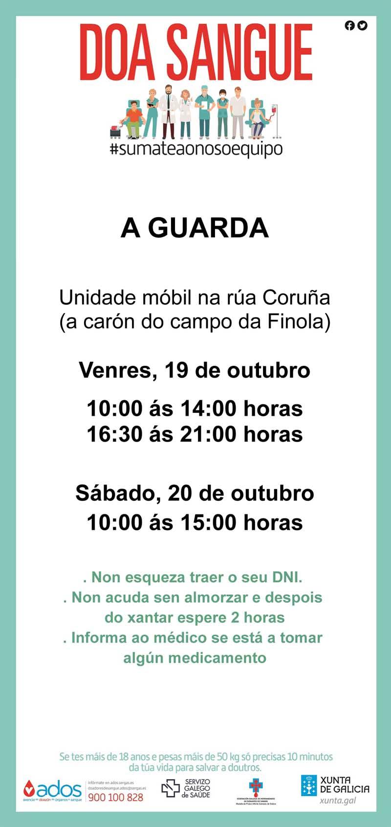 Este autobús estará emprazado na Rúa Coruña, ao carón do Campo da Fínola o venres en horario de 10:00h a 14:00h e de 16:30h a 21:00 horas e o sábado en horario de 10:00h a 15:00 h.