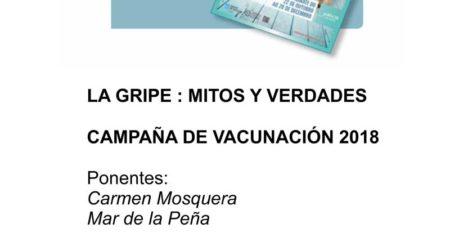 O vindeiro venres día 19 de outubro o Centro Cultural da Guarda acolle a Charla «Vacina da gripe, mitos e verdades» que terá lugar ás 20:00h e que contará coas ponencias de Mar de la Peña Cristiá e Carmen Mosquera Pérez.