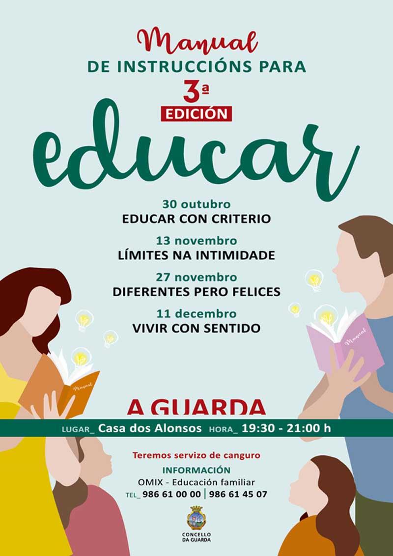 O vindeiro martes día 30 de outubro de 2018 a Casa dos Alonsos da Guarda acolle a primeira sesión da terceira edición de «Manual de instrucións para educar», unhas charlas informativas organizadas dende a Oficina Municipal de Información Xuvenil e Educación Familiar.