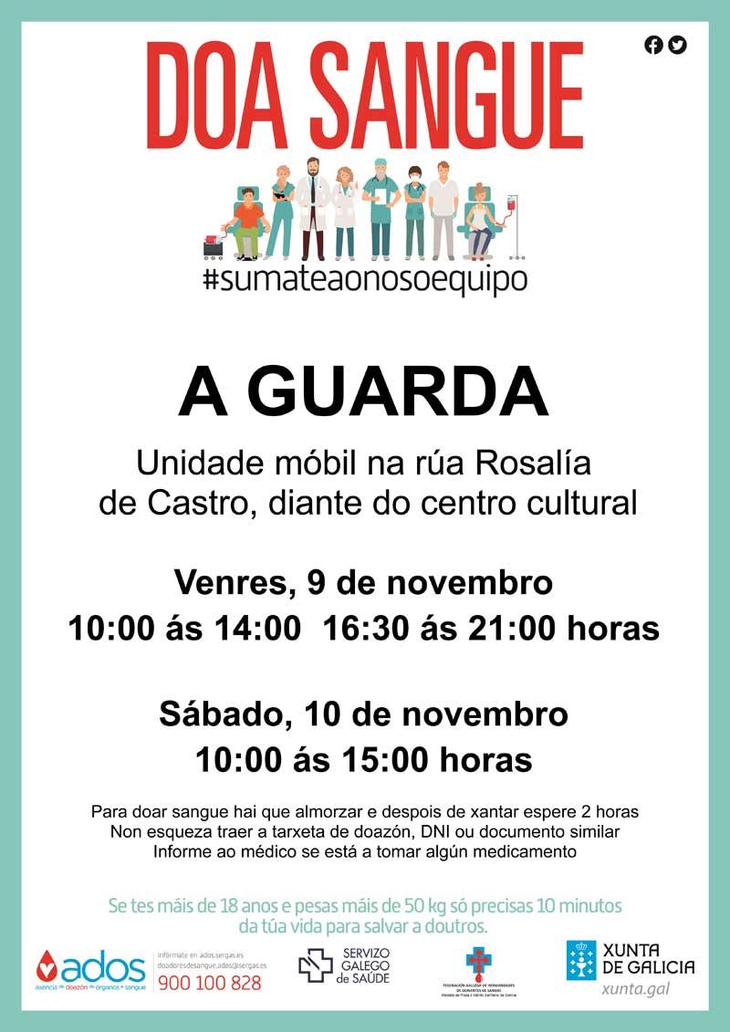 A Unidade Móbil do Centro de Transfusión de Galicia visita A Guarda o 9 e 10 de novembro
