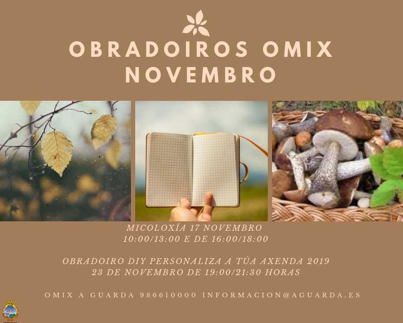 A OMIX da Guarda oferta dúas novas actividades para este mes de novembro que consistirán nunha xornada de Micoloxía e un Obradoiro para personalizar axendas.