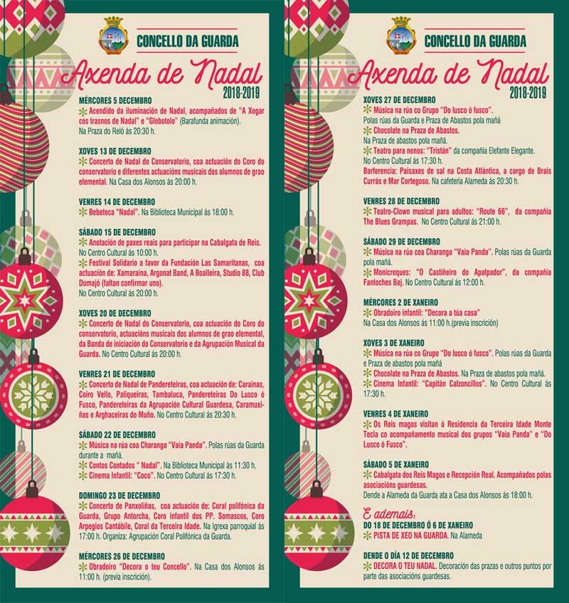 Teatro, animación musical polas rúas, concertos de panxoliñas, obradoiros de decoración, chocolatadas, pista de xeo, ou a Cabalgata de Reis, son algunhas das actividades previstas dende o 5 de decembro ata o 6 de xaneiro, un mes no que A Guarda vivirá na maxia do Nadal.