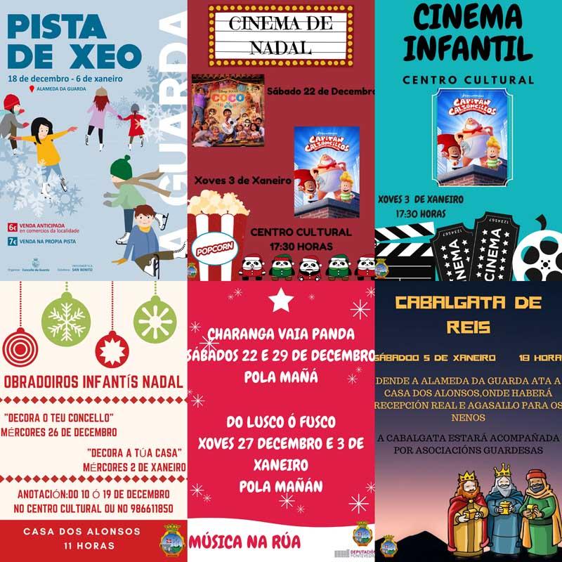 O Nadal continúa na Guarda cunha extensa e variada programación de actividades nas que se inclúen o cinema, a animación musical polas rúas, os obradoiros de decoración, as chocolatadas, a pista de xeo, ou a Cabalgata de Reis.