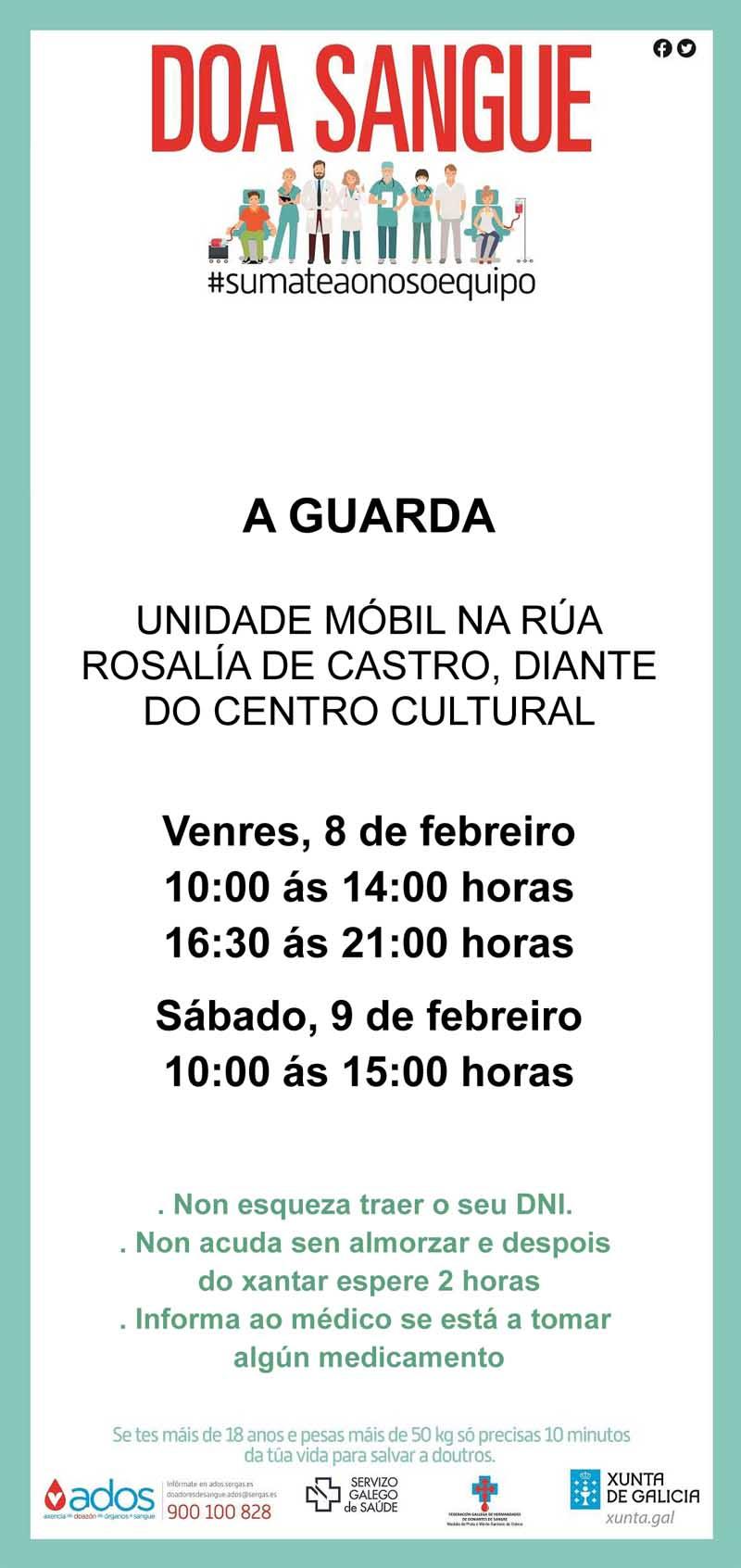 A unidade móbil do Centro de Transfusión de Galicia estará instalada na Guarda o vindeiro venres 8 e sábado 9 de febreiro.