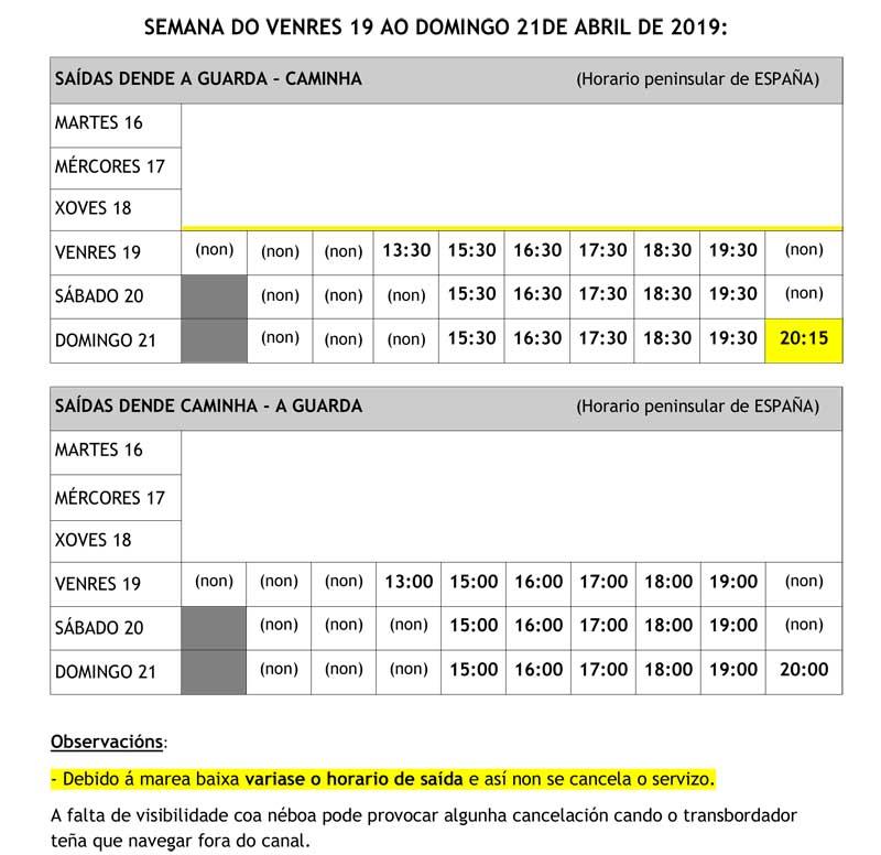 Horario semanal do transbordador A Guarda – Caminha do venres 19 ao domingo 21 de abril de 2019