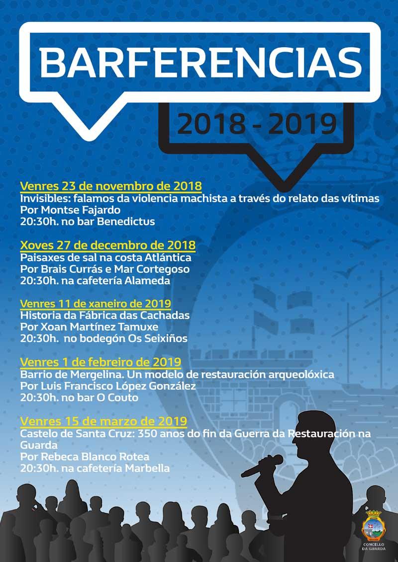 Este venres día 15 de marzo de 2019 terá lugar a quinta e última Barferencia do ano na Guarda, en concreto falarase sobre «Castelo de Santa Cruz: 350 anos do fin da Guerra de Restauración na Guarda» a cargo de Rebeca Blanco Rotea.