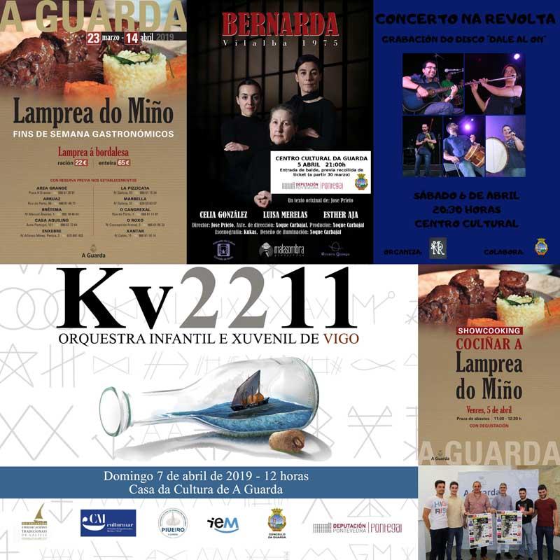 A Guarda recibe a primeira fin de semana do mes de abril cunha intensa programación de actividades entre as que destacan a celebración dun showcooking sobre a lamprea, enmarcado nos fins de semana gastronómicos, a representación teatral de «Bernarda», o Concerto do grupo folk Na Revolta, a Proba deportiva Baixo Miño Enduro Experience e o Concerto da Orquestra KV2211.