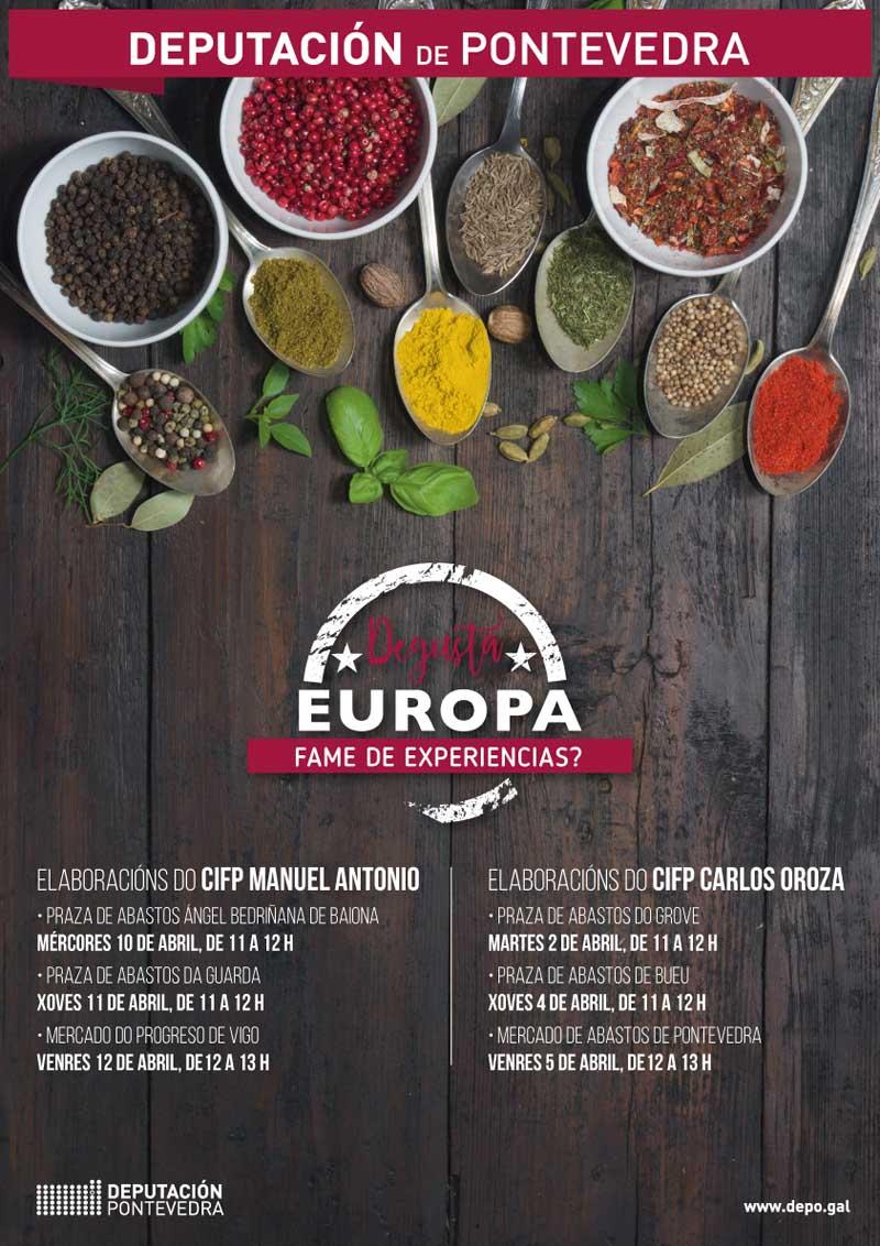 Contando coas elaboracións realizadas polos alumnos do CIFP Manuel Antonio, a Praza de Abastos da Guarda acollerá esta mostra culinaria o vindeiro xoves día 11 de abril en horario de 11:00h a 12:00h.