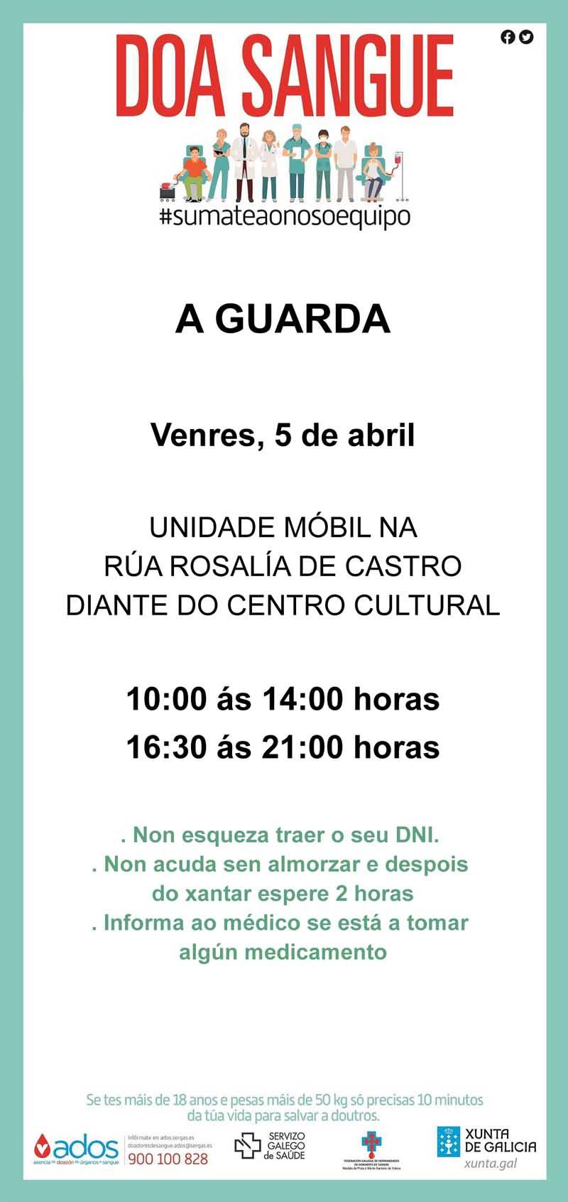 Este autobús estará emprazado na Rúa Rosalía de Castro(Ao Carón do Centro Cultural) o venres 5 en horario de 10:00 ás 14:00 e de 16:30 ás 21:00 horas.