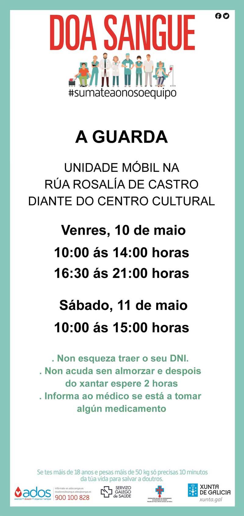 A unidade móbil do Centro de Transfusión de Galicia estará instalada na Guarda o venres día 10 e sábado día 11 de maio.