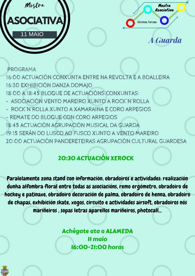 Este sábado día 11 de maio de 2019 a Alameda da Guarda será o escenario, unha vez máis, para a celebración da terceira edición da Mostra Asociativa, un evento multicultural no que as asociacións da vila son as protagonistas dando a coñecer o seu traballo a todos os asistentes.