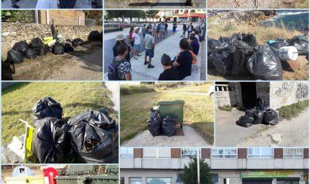 73 sacos de plásticos retirados da costa o pasado domingo
