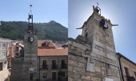 O Concello da Guarda repara a esfera da Torre do Reló