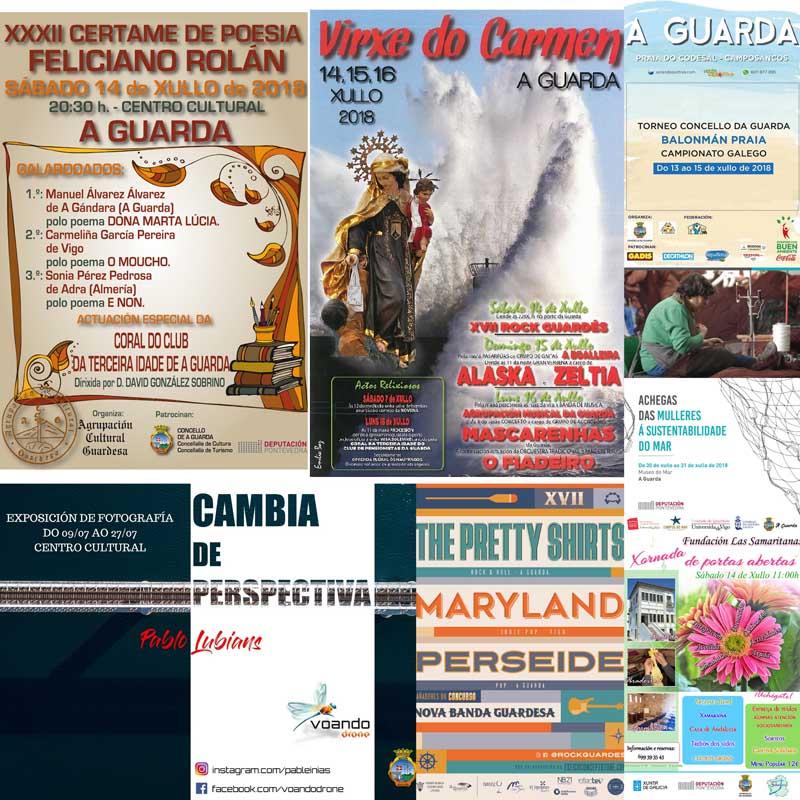 Dende o venres 13 e ata o Luns 16, a Guarda conta cunha programación na que se inclúen exposicións, un campionato de balonmán-praia, unha presentación dun libro, as Festas do Carmen, o festival Rock Guardés, entre outras.