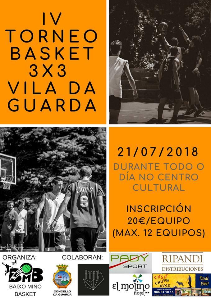 Este sábado día 21 de xullo de 2018, as pistas deportivas do Centro Cultural da Guarda acollen a cuarta edición do Torneo de Baloncesto de verán 3x3 Vila da Guarda.