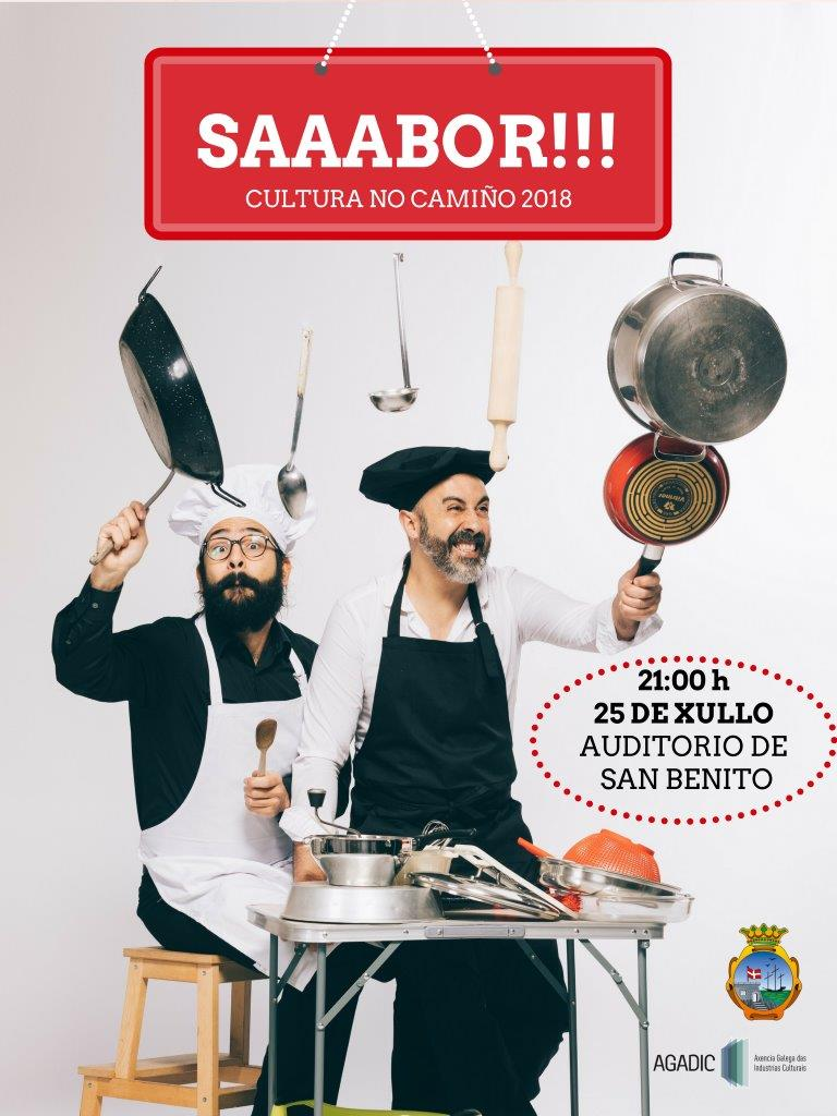 O vindeiro mércores día 25 de xullo ás 21:00h o Auditorio de San Bieito de A Guarda acolle o espectáculo «SAAABOR», da man da Axencia Galega de Industrias Culturais AGADIC e enmarcado no programa Cultura no Camiño 2018.