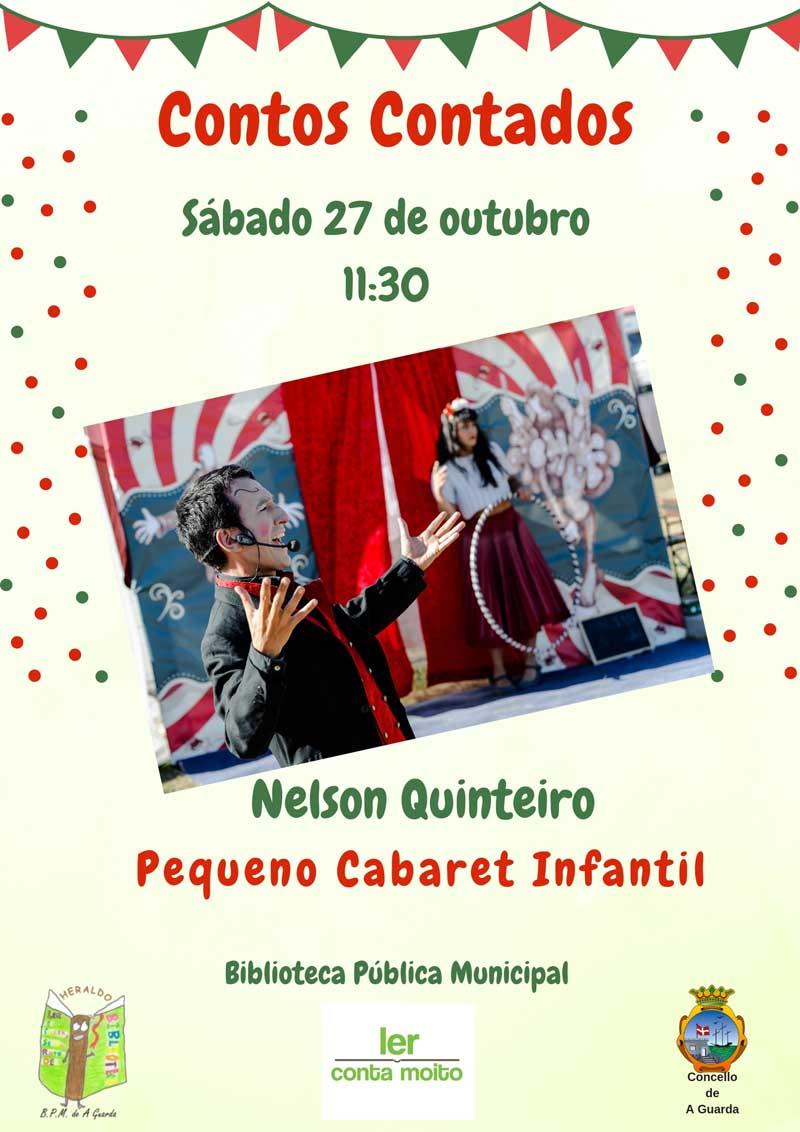 O sábado 27 de outubro realizarase unha nova sesión de «Contos Contados» a partires das 11:30h a cargo de Nelson Quinteiro co seu espectáculo «Pequeno Cabaret Infantil», unha actividade programada para celebrar o Día das Bibliotecas que ten lugar cada 24 de outubro.