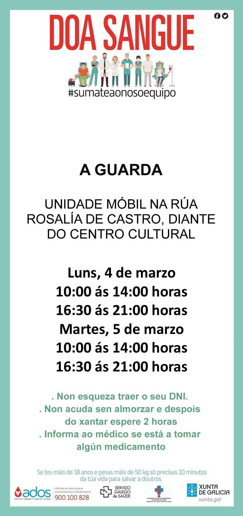 A unidade móbil de doazóns de sangue estará instalada na Guarda o luns 4 e martes 5 de marzo