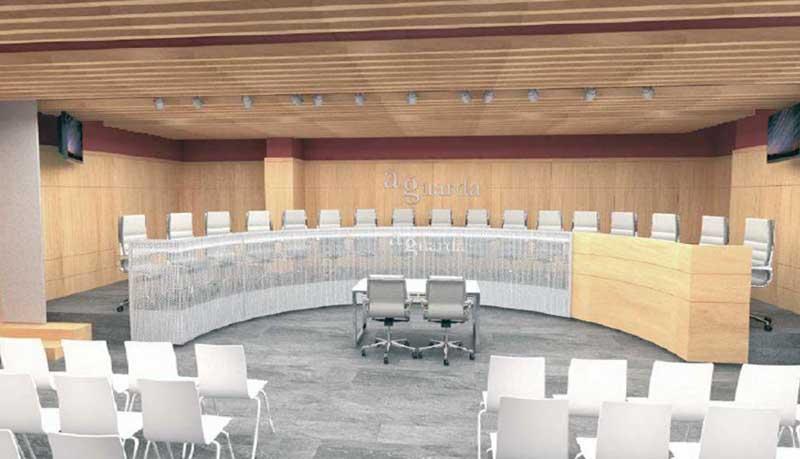 A Guarda iniciou este luns o proxecto da obra de creación dun salón de plenos no espazo reservado para tal fin no novo edificio do concello, na Casa dos Alonsos.