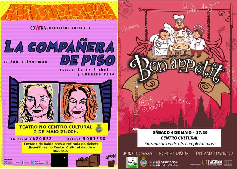 A Concellería de Cultura do Concello da Guarda programa para a primeira fin de semana do mes de maio dúas obras de teatro, unha para público infantil e familiar e outra para todas as idades.