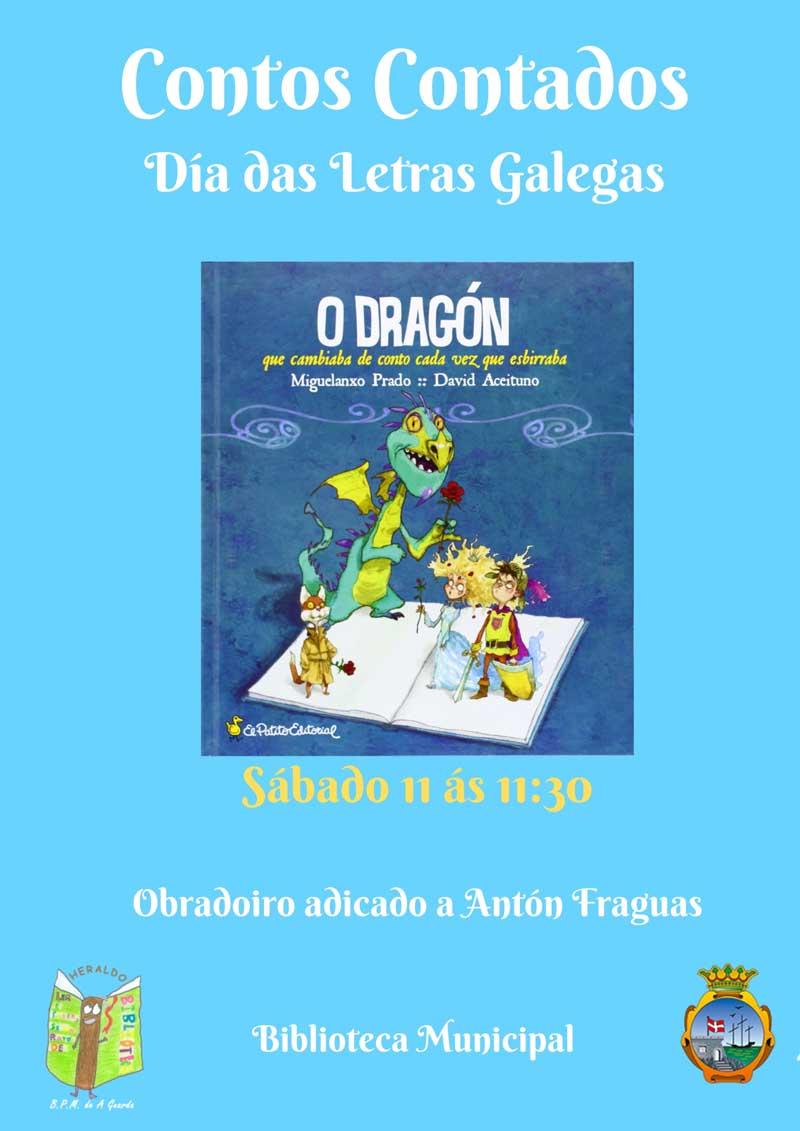 Este sábado día 11 de maio ás 11:30h da mañá terá lugar a primeira sesión de Contos Contados do mes de maio, adicada especialmente ao «Día das Letras Galegas».