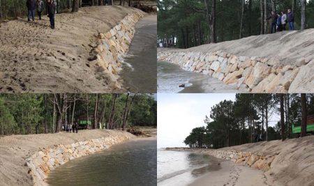 Costas do Estado remata a escollera provisional de protección da praia Lamiña-Forte