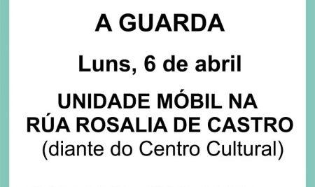 A unidade móbil de doazóns de sangue estará instalada na Guarda o luns 6 de abril