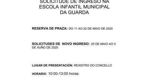 Aberto o prazo para solicitar praza do curso 2020/21 na Escola Infantil Municipal da Guarda